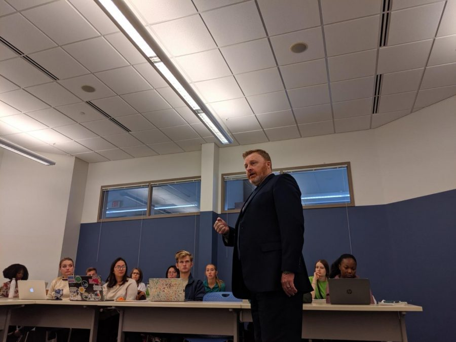 Ron Gorman is a part of a lecture series by POLS 209 class.