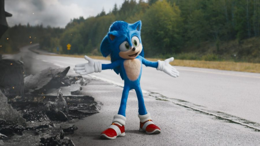 Sonic stands next to a pile of wreckage closely resembling the film itself.