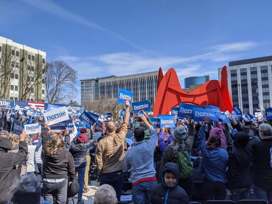 Sanders draws a massive crowd downtown during a rally.