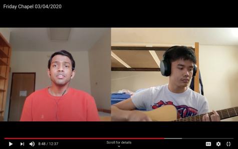 Judah Manoraj (left) and Denny Tawas (right) lead worship remotely.