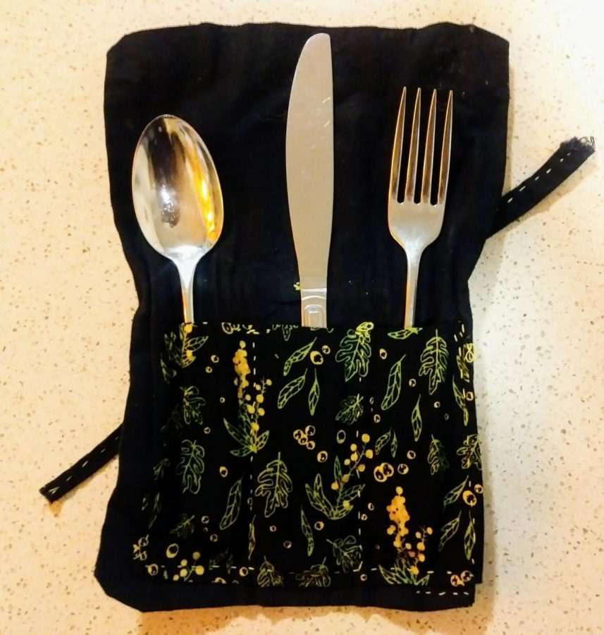 Some students have gotten creative and designed their own sustainable silverware cases like this one.