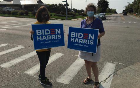 Biden supporters at the Grand Rapids Kids Food Basket.