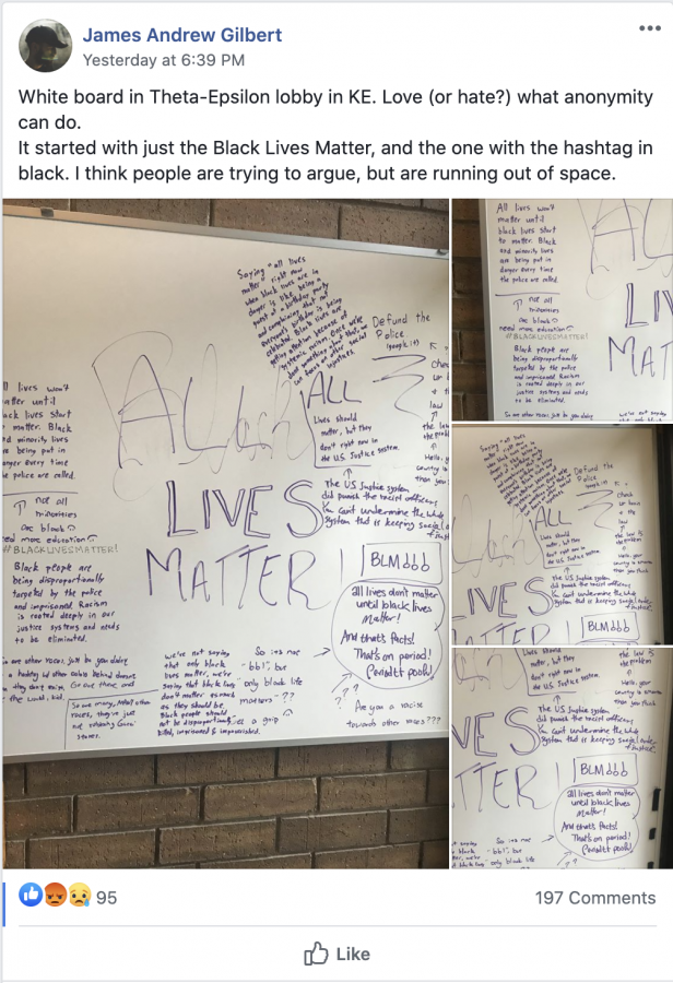 This post of a white board in Calvin's Knollcrest East Apartments sparked a storm of responses resulting in the closing of the Overheard at Calvin Facebook page.