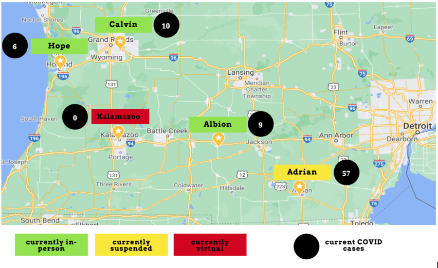 This map shows the COVID case count at small colleges throughout West and East Michigan.