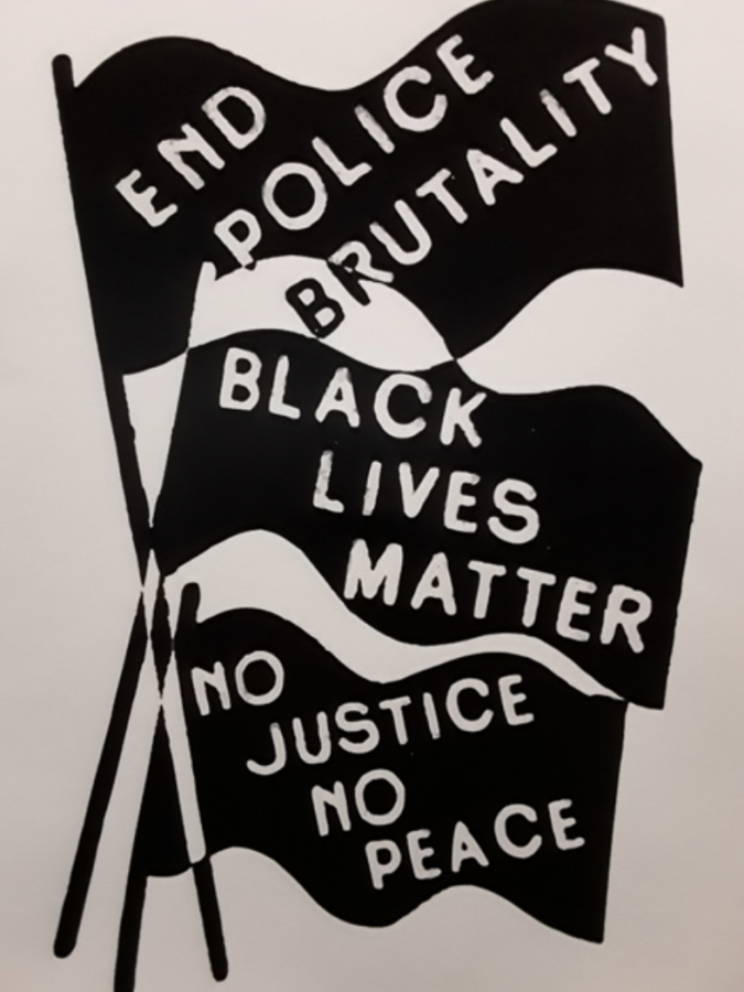 A poster supporting the Black Lives Matter movement found on the Grassroots floor.