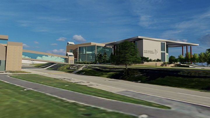 Rendering of Calvin's new School of Business building.