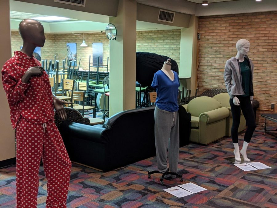 Senior social work major Tara Boutelle organized an exhibit to start conversations on campus and demonstrate that what survivors were wearing is not to blame for sexual assault.