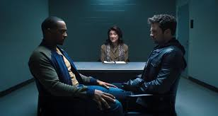 (From Left to Right) Anthony Mackie as Sam Wilson/the Falcon, Amy Aquino as Dr. Raynor, and Sebastian Stan as Bucky Barnes/the Winter Soldier in the second episode of Disney+'s The Falcon and the Winter Soldier mini TV series.