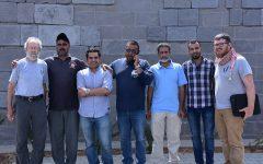 Professor Bert de Vries and Professor Darell Rohl (left to right) with colleagues at Umm el-Jimal