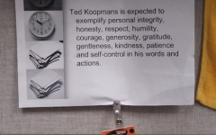 Ted Koopmans, Calvin's former head of building services, displayed a code of conduct in his office.