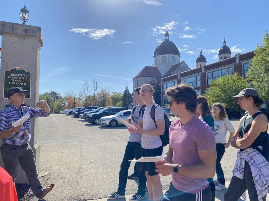 The Basilica of St. Adalbert, pictured in the back, is one of the sites where Geo 310 students meet to learn about the city.