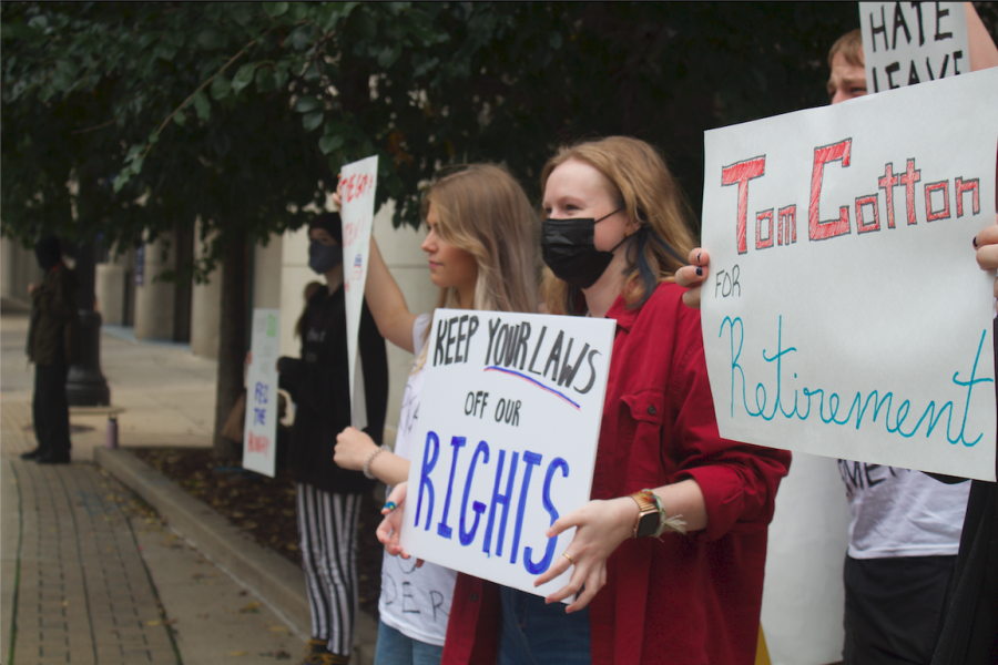 Protestors stood outside one of the most prominent fundraising dinners for the Kent County GOP.