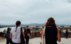 Calvin students look out toward the border with Slovakia from the roof of the Basilica of Esztergom in northern Hungary.